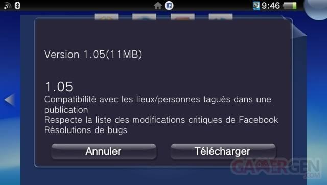 Facebook mise a jour 1.05 0001