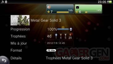 Metal Gear Solid 3 HD Edition collection trophees 24.07 (2)