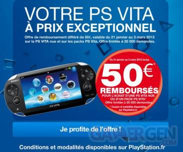 Offre remboursement playstation vita 50 euro sony 19.01.2013.