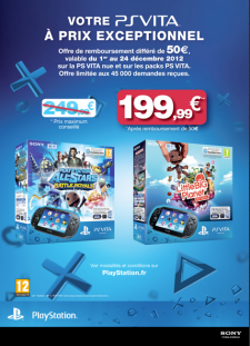 PlayStation Vita offre Sony 199,99 euros 16.11.2012.