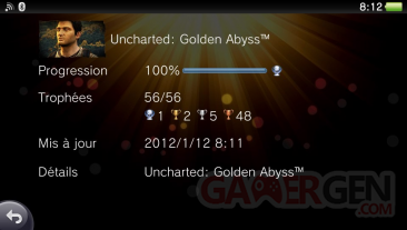 Uncharted Golden Abyss trophées full 01